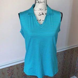 LADY HAGEN aqua & white stripped golf shirt NWT